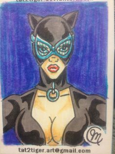 DC Catwoman sketch card by tat2tiger