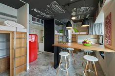 This is a 660 sq. modern student apartment at Campus Hong Kong. Inside you'll find a common living area, kitchen, bathroom, and four loft beds with desks below. Please enjoy, learn more a… Student Apartment, Student Room, Student House, Small Apartments, Small Spaces, Apartment Decoration, Cabinet D Architecture, Architecture Design, Interior Color Schemes