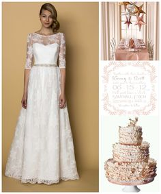 """Loving blush color decor options with our Alyne Bridal """"Azura"""" gown! xo"""