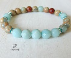 Soothing mala bracelet, great for meditation :) made with High quality stones, 8mm Aqua terra Jasper, 8mm faceted Amazonite and middle eastern rhinestones. Strung on a strong elastic cord.  Single Yoga Bracelets here: http://www.etsy.com/shop/LifeForceEnergy?section_id=10901055  More Yoga wrap Bracelets/Necklaces here http://www.etsy.com/shop/LifeForceEnergy?section_id=11305375  108 Malas Bracelet or Necklaces here http://www.etsy.com/shop/LifeForceEnergy?section_id=11310698  Chakras - Heart…