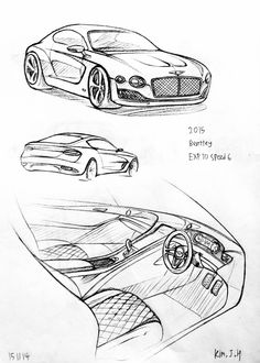 Car drawing 151114 2015 Bently EXP10 speed6 Prisma on paper. Kim.J.H