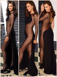 Irina Shayk arrived at the Vanity Fair Oscars party in a very revealing floor-length black dress on Sunday. The Russian beauty made her way to the glamorous Beverly Hills soiree in an Atelier Versace Classy Outfits, Sexy Outfits, Sexy Dresses, Cool Outfits, Irina Shayk Dress, Black Floor Length Dress, Ashley Clothes, Irina Shayk Photos, Versace Gown