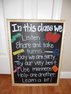 Teacher Chalkboard -- In This Class We ...