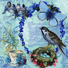 12 x 12 Blue Spring collage that I designed for scrapbooking and paper crafting