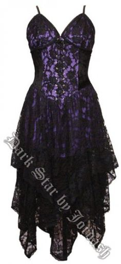Dark Star Gothic Black & Purple Lace Corset Dress [DS/DR/21P] - $91.99 : Mystic Crypt, the most unique, hard to find items at ghoulishly great prices!