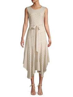 Calvin Klein Collection Mixed-stripe Sleeveless Midi Dress In Latte White Calvin Klein Collection, Discount Clothing, Stripe Print, Wrap Dress, Latte, Clothes, Shopping, Dresses, Women