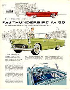 1956 Ford Thunderbird #ford #thunderbird #tbird #vintage #classic #throwback #advertisement #ad #print #beyerford #newjersey