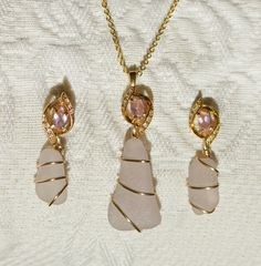 Amethyst Sea Glass Pendant and Earring Set by oceansbounty on Etsy, $26.00