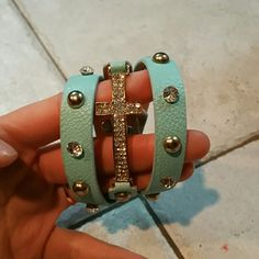 Blue cross wrap bracelet. Excellent condition. Hardly worn! Jewelry Bracelets