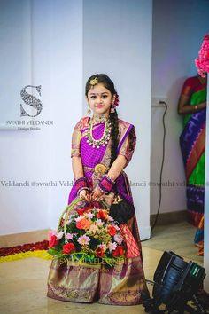 Cute little kid in Swathi Veldandi designed langa voni. Kids Saree, Kids Lehenga Choli, Kids Lehanga, Sarees, Kids Dress Wear, Dresses Kids Girl, Kids Outfits, Kids Wear, Kids Gown