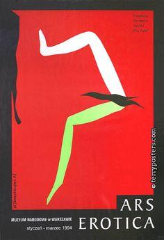 Elegi este afiche porque representa con simples elementos una muestra de Arte erotico, tiene un giro conceptual muy ingenioso. Henryk Tomaszewski, Ars erotica, 1993