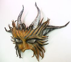 Horned Creature Leather Mask Goat Satyr Pan horns Midsummers