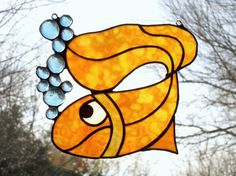 Lucky Gold Fish Stained Glass Suncatcher