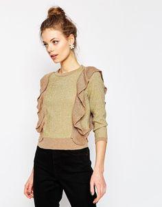 ASOS – Metallic-Pullover mit Rüschen