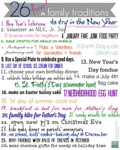 26 fun family traditions to start this year --> print this out and add it to your fridge! no better time than NOW to start some new family traditions!