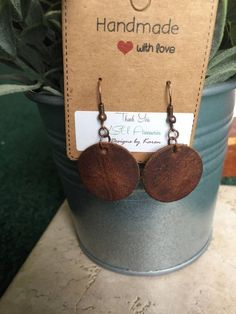 Simple Genuine Leather Round Disc Drop earrings, Essential oil diffuser earrings, Gift Idea, Joanna Gaines Inspired by KSUaccessories on Etsy
