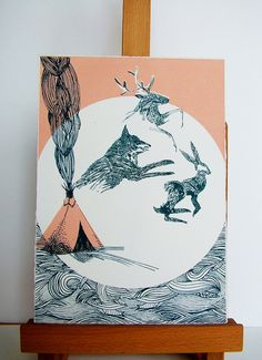 This is a signed, limited edition screen print based on a spiritual story. My illustration is reflecting the nature of spirit animals - in this story, the three animals have left the home of a man in creature form, despite entering the hut as humans. The wispy and fragmented style of the animals reflects this.