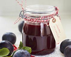 Luumu- tai kriikunamarmeladi Chocolate Fondue, Syrup, Preserves, Food And Drink, Cooking Recipes, Jar, Baking, Desserts, Milkshakes