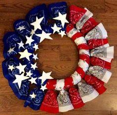 American Flag Bandana Wreath | 14 DIY Bandana Design Projects, see more at http://diyready.com/14-diy-bandana-design-ideas