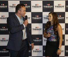 July 25, 2015: Tissot brand manager, Justin Thompson prepares to reveal Danica Patrick's commemorative Tissot signature timepiece celebrating her 10th anniversary as Tissot Ambassador.(HHP/Harold Hinson)
