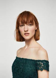 Vestido off-shoulder guipur