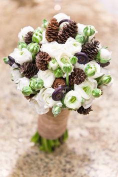 pinecones, white flowers, green buds & ferns for a unique wedding bouquet for a fall/autumn wedding or a woodland wedding