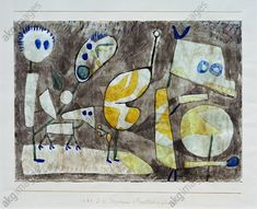 """Ungeheuer in BereitschaftKlee, Paul 1879–1940. """"Ungeheuer in Bereitschaft"""" (Monster in Action), 1939, 75. Pen and ink and watercolour on writing paper, with dabs of glue on cardboard. top and bottom edges on the cardboard with ink, 20.8 × 29.4cm. Switzerland, private collection."""