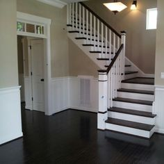 These stairs are beautiful. Love the dark wood with white paint, boards are thin for my taste though