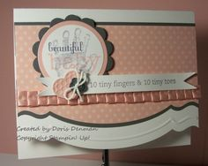 """STAMPS: Baby Prints, Fabulous Phrases, Sweetly Said   INK: Classic Blushing Bride, Classic Basic Gray   CARDSTOCK/PAPER: Whisper White, Blushing Bride, Basic Gray, 12 X 12 2010-11 In Colors Patterns Stack   ACCESSORIES: 1 3/4"""" Circle Punch, Originals Circle #2 Die, Big Shot, 2 3/8"""" Scalloped Circle Punch, Neutral Buttons, Blushing Bride Pleated Ribbon, 1/16"""" hole punch, White Baker's Twine, Fashionable Hearts Embosslit, Adorning Accents Edgelit, Adorning Accents Embossing Folder,"""
