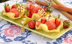 Glutenfria glassbägare med sorbet