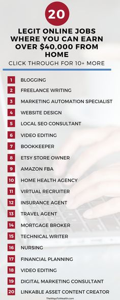 Want to work from home. Here's a list of 20 ways to make money from home. CLICK THROUGH for 10+ more work from home job opportunities.