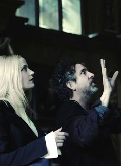 Eva Green & Tim Burton on the set of Dark Shadows