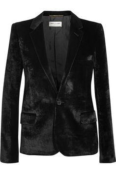 Saint Laurent - black velvet, high-hip length.