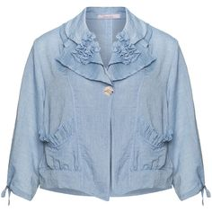 Oliver Jung Light-Blue Plus Size Ruffle detail jacket ($49) ❤ liked on Polyvore featuring outerwear, jackets, plus size, lightweight jacket, plus size ruffle jacket, pocket jacket, plus size womens jackets and ruffle jacket