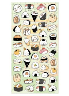 Give your bullet journal and planner a new decorative look with these 'kawaii' Nekoni stickers. They feature adorable sushi illustrations.