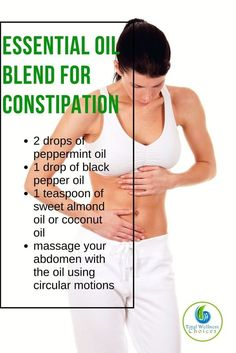 Remedies For Constipation Best essential oils for constipation to help relieve constipation naturally! - Being constipated is no fun! So here are the 15 best essential oils for constipation you can safely use to relieve constipation. Essential Oils For Constipation, Oil For Constipation, Essential Oils For Pain, Essential Oil Uses, Doterra Essential Oils, Young Living Essential Oils, Essential Oil Diffuser, Constipation Remedies, Doterra Blends