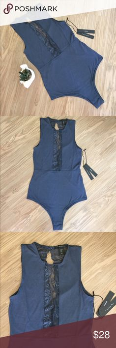 Tahari Ultimate Lace Open Back Bodysuit Slate SM Gorgeous new Bodysuit from Tahari. Lace paneling, easy snap bottom, and an open back.  Size Small.  The ultimate in lingerie wear.  Dark slate in color. Brand new with tags. Tahari Intimates & Sleepwear