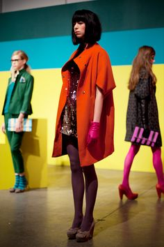 Corey Lynn Calter Fall 2012 - awesome mod look and bright colours, love the coat!