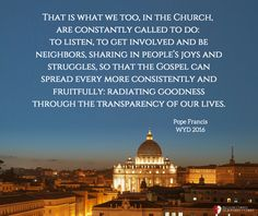 2016 World Youth Day Homily by Pope Francis Legionaries Of Christ, Pope Quotes, World Youth Day, The Kingdom Of God, Pope Francis, Our Life, Taj Mahal