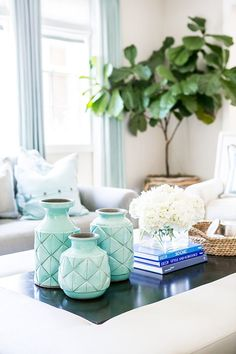 Blue details in a bright living space