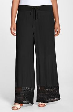 XCVI 'Noe Valley' Lace Hem Wide Leg Pants (Plus Size) | Nordstrom