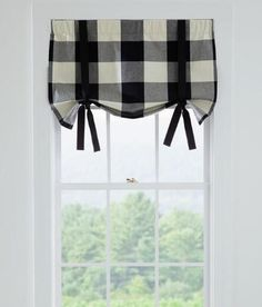 Winslow Buffalo Check Tie Up Valance In Black From Country Curtains