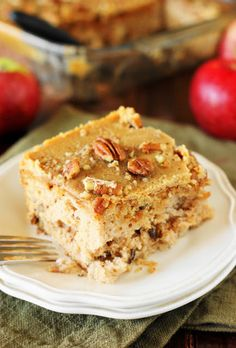 Old-Fashioned Apple Cake Image ~ Loaded with fresh apples, iced with boiled caramel topping, & studded with crunchy pecans, this is one stunningly delicious apple dessert. Sheet Cake Recipes, Dump Cake Recipes, Apple Cake Recipes, Apple Desserts, Dessert Recipes, Potluck Desserts, Apple Cakes, Pecan Recipes, Most Delicious Recipe