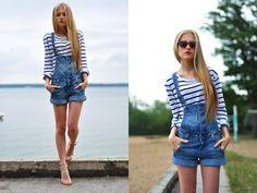 H Jeans Overall, Zara Striped Blouse, Brylove.Com Leopard Cat Eye Sunglasses
