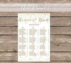 Printable Wedding Seating Chart Gold Confetti Wedding by ArtPrint3