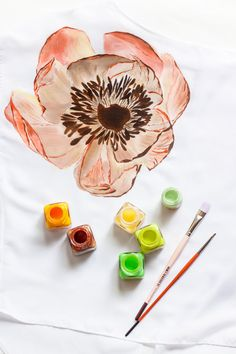 Hand Painted Shirt Art Clothing Handpainted Peony Flower T Shirt Tshirt Painted Silk Designer Shirts Loose Blouse Clothing Top Tee Pion T Shirt Painting, Hand Painting Art, Fabric Painting, Fabric Art, Hand Painted Dress, Hand Painted Fabric, Painted Clothes, Painted Silk, Shirt Art