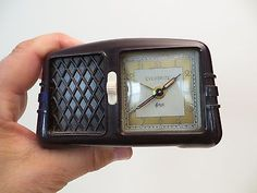 VINTAGE RARE OLD ANTIQUE BAKELITE RADIO STYLE WITH WORKING MUSIC BOX + CLOCK