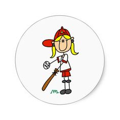 Up at Bat Girl Baseball Player Tshirts Round Sticker