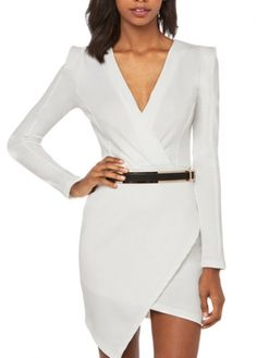 Laconic Solid White Long Sleeve Dress with V Neck