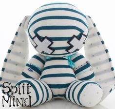 Teal Banded Bunny by splitmind on Etsy